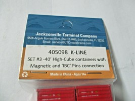 Jacksonville Terminal Company # 405098 K-Line 40' High-Cube Container N-Scale image 2