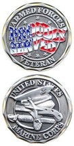 """United States US Armed Forces Marine Corps """"Proudly Served"""" Veteran Coin - $14.82"""