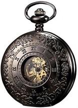 KS Half Hunter Mechanical Pocket Watch Roman Number Half Hunter Antiqued Black - $79.28