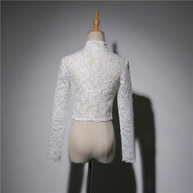 Women Retro Square Neck Lace Shirt Button Down Wedding Bridal Lace Crop Shirts image 5