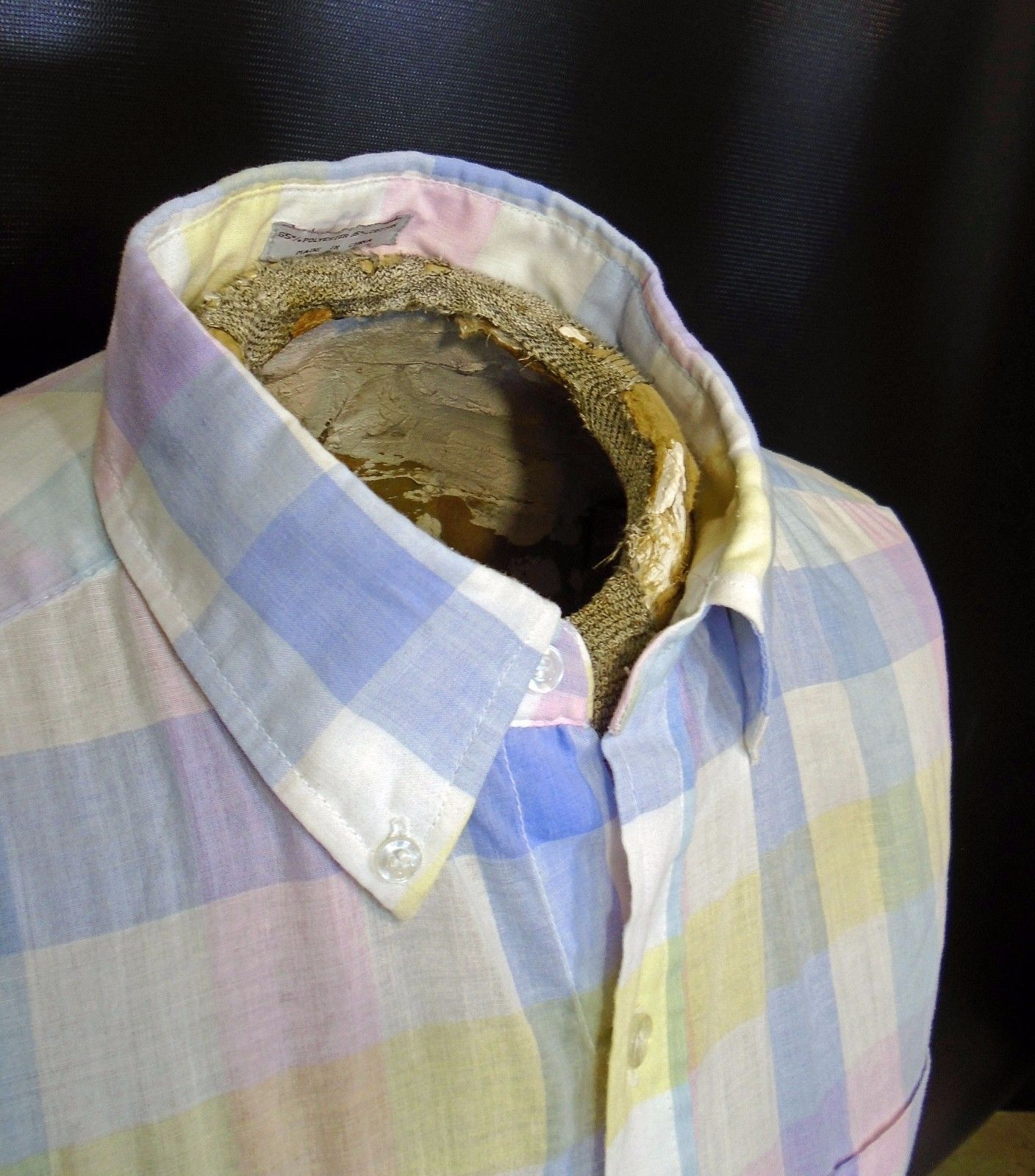 b1ea45b7 Vintage Wedgefield Light Blue Pink Yellow Short Sleeve Plaid Shirt Sz Large!