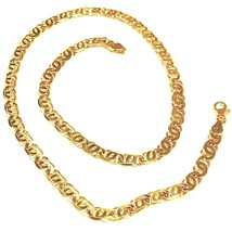 """SOLID 18K YELLOW GOLD CHAIN BIG TIGER EYE INFINITY FLAT LINKS 5.5 mm, 24"""" image 1"""