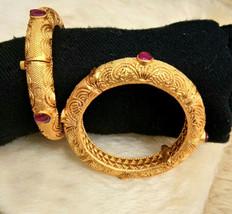 BabosaSakhi Indian Bollywood 22k Gold Plated Ethnic Temple Polki Bangle ... - $41.25