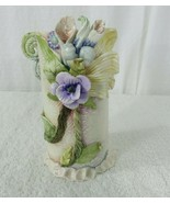 Vintage 80s Handcrafted Ceramic Floral Vase 3D Around Signed Textured Po... - $89.05