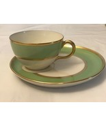 Vintage Coffee Cup And Saucer Limoges GDA/green White Gold Colors - $148.50