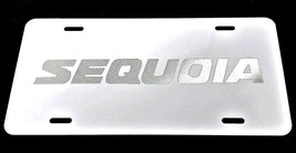Toyota Sequoia Car Tag Diamond Etched on White Aluminum License Plate - $22.99