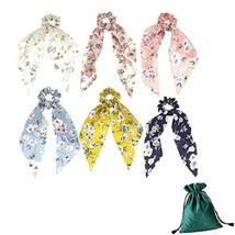 6 Pcs Scarf Hair Scrunchies Elastic Hair Ties with Floral Print Ribbon H... - $19.45