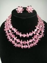 50s 60s Vintage Estate Necklace Earring Set 3 Women 15 inch Choker Pink ... - $29.69