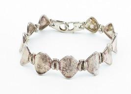 925 Sterling Silver - Vintage Smooth Curved Hinge Link Chain Bracelet - B5997 image 2