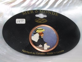 Estate Mer & Monde Two Girls Near Water Paper in Round Copper Metal Fram... - $8.59