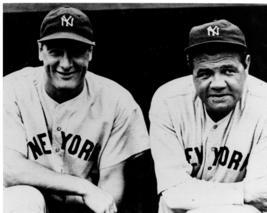 Lou Gehrig Babe Ruth  New York Yankee Vintage 28X35 BW Baseball Memorabi... - $41.95