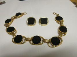 """Costume Jewelry ,Vintage , Gold / Black , Necklace 16"""" , Earrings 1"""" x 1"""" - $49.50"""