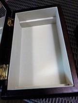 "Dark Wood Jewelry Organizer w/Mirror 5"" x 8"" Brocade Fabric Lid Made in China Je image 4"