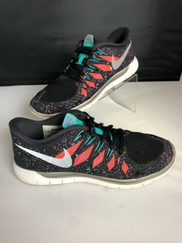 NIKE FREE 5.0 Running Gym Fitness Shoes Black Hyper Jade Galaxy Womens Size 8.5