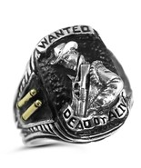 Bounty Hunter ring Wanted Dead or Alive Sterling Silver lge - $72.00