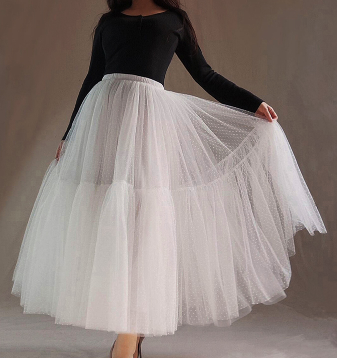 Women White Tulle Skirt High Waist A Line Long Tulle Skirt Polka Dot Party Skirt