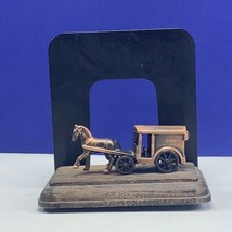 Stagecoach bookend copper horse drawn carriage book end figurine vintage... - $39.55