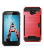 REIKO COOLPAD DEFIANT SLIM ARMOR HYBRID CASE WITH CARD HOLDER IN RED SPW... - $8.54