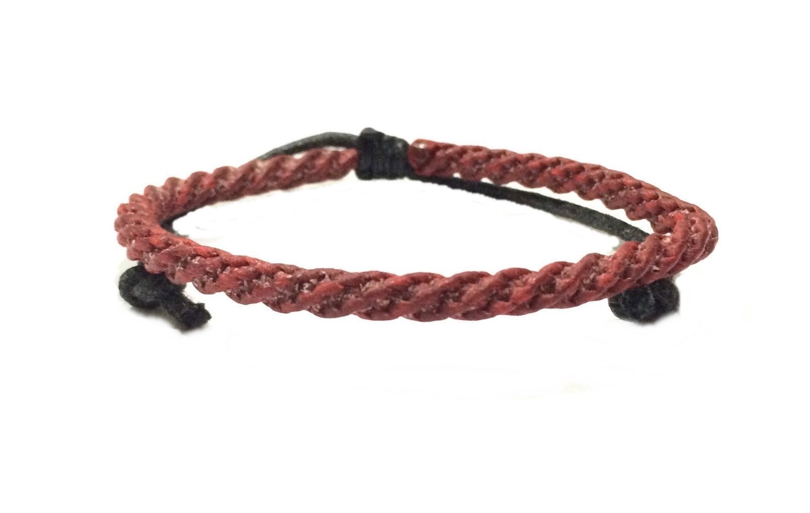 Fair Trade Classic Red Cotton Cord Weave Thai Mens Cotton Wristband Bracelet