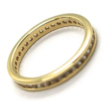 18K YELLOW GOLD ETERNITY BAND BINARY RING, WHITE CUBIC ZIRCONIA, THICKNESS 3 MM image 2