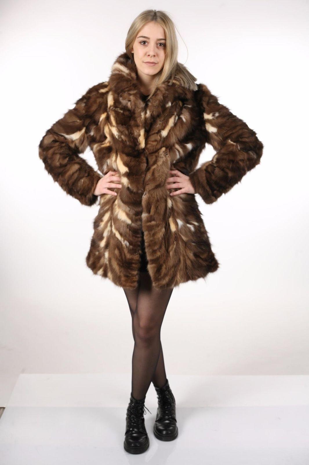 Brown Sable Fur Coat Sectional size Large US 12 EU 42  Genuine Sable 100% image 8
