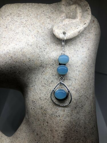 Primary image for Vintage Blue Chalcedony Earrings 925 Sterling Silver Lever backs