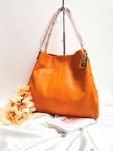 Coach Madison Phoebe Pebbled Leather Shoulder Bag in Mandarin, Style 262... - $217.79