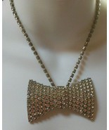 Vintage Clear Rhinestone Bow Tie Necklace  - $74.25