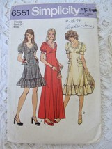 "Vintage Simplicity pattern 6551 1974 12 34"" Bust Boho Retro Dress 3 Lengths - $9.99"