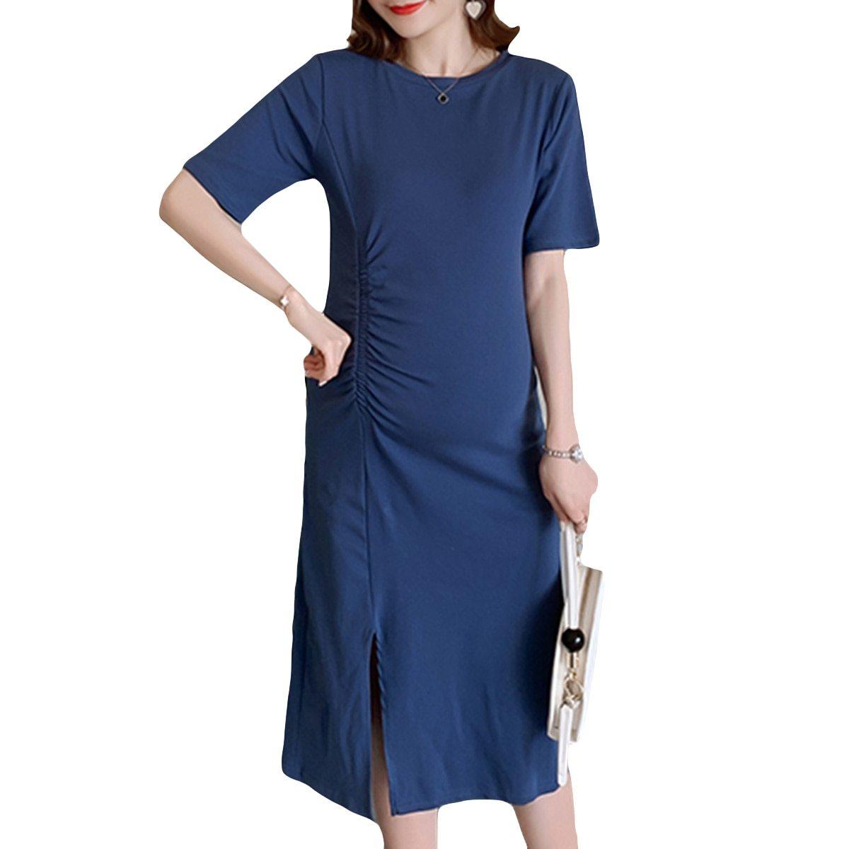 Maternity Dress O Neck Solid Color Split Mom Dress