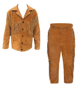 Men's New Native American Brown Buckskin Suede Leather Beads Jacket & Pa... - $197.01+