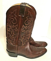 JUSTIN Cowboy Boots 12D 2253 Men Bay Apache Western Brown Round Toe Pull... - $110.90