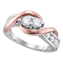 14k White Rose-tone Gold Round Diamond 2-stone Bridal Wedding Engagement... - £1,203.21 GBP