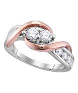 14k White Rose-tone Gold Round Diamond 2-stone Bridal Wedding Engagement... - £1,086.93 GBP