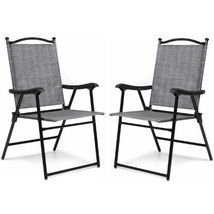 Sling Back Lawn Chair Set of 2 Gray Fabric Folding Yard Outdoor Patio Fu... - $74.24