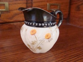 1890s Mount Washington Cream Pitcher Smith Bros Lion Mark Daisies - $39.59