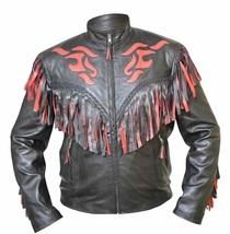 New Western Cowboy Black & Red Color Leather Fringe Men Biker Jacket - $179.99+