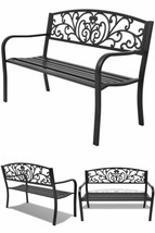 Metal Outdoor Bench Garden Patio Park 2 Seater Furniture Lawn Chair Furn... - $194.55