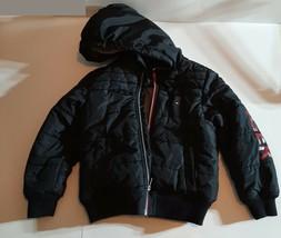 Tommy Hilfiger Puffer Jacket Coat Boys Size 6 Black Hilfiger Sleeve Tan Inside - $40.00