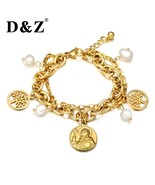 D&Z Women Bracelets & Bangles White Pearl Beads Stainless Steel Tree of ... - $10.60
