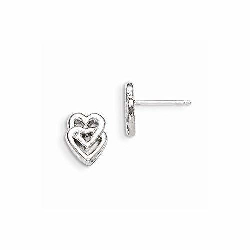 Primary image for Sterling Silver Heart Mini Earrings, Best Quality Free Gift Box