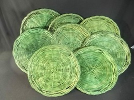 Wicker Rattan Paper Plate Holders Lot of 8 Green - €13,28 EUR