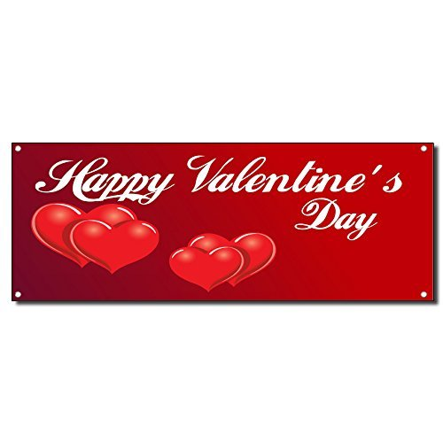 Happy Valentine'S Day Red Hearts 13 Oz Vinyl Banner Sign w/ Grommets 4 ft x 8 ft
