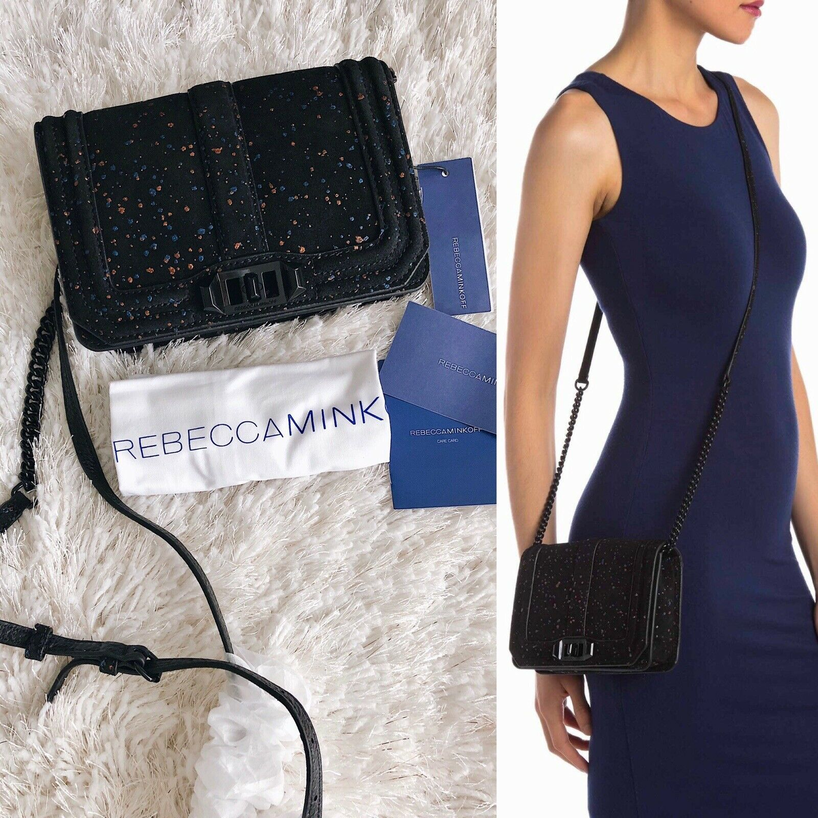 Primary image for ✨New REBECCA MINKOFF Love Small Suede Crossbody Bag Black Splatter $245 NWT
