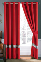4-Pc Triangle Greek Key Meander Embroidery Curtain Set Red Brown Silver Sheer - $40.89