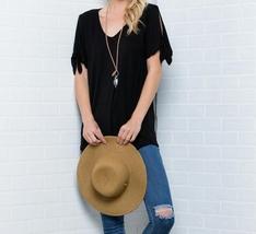Cold Shoulder Top, Knotted Short Sleeves V Neck, Plus Size Tunics, Black image 4