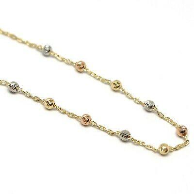Bracelet Yellow White Rose Gold 750 18K Rosary Beads, cross, Miraculous Medal