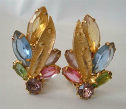 Juliana Delizza & Elster Multicolor Earrings Gold Tone Open Back Pastels... - $19.79