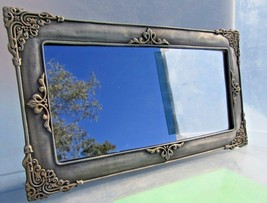 """decorative wall Framed  mirror  Pewter and copper finish 12"""" x 5"""" inches - $17.63"""