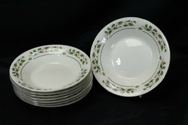 "Cambridge Holly Traditions Xmas Soup Bowls 8"" Lot of 8 - $58.79"
